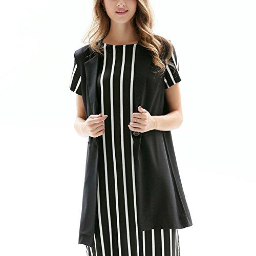 Sin Elegantes Mangas Negro Chaqueta Largo para Chaleco Mujer Blazer de Rtq5OqwE
