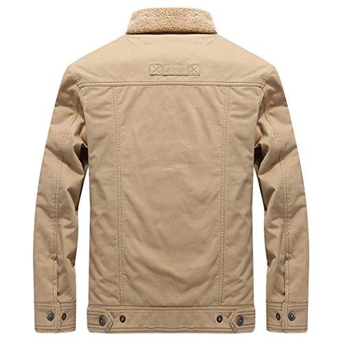 Trucker Lined Khaki Bomber Jacket Sherpa Shearling Jacket LEADER Military Men's WALK Coat ZqtwYTn