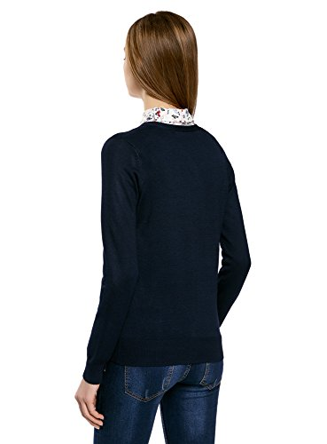 oodji Collection Mujer Rebeca de Punto Básica con Escote en V Azul (7900N)