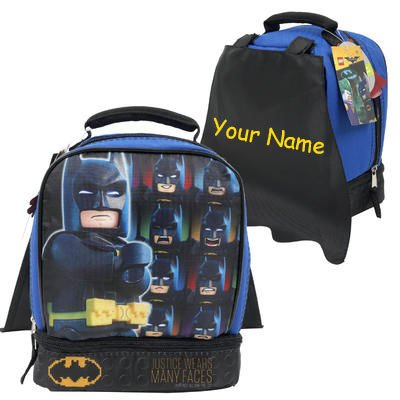 1949bf2070c3 Personalized LEGO Batman Justice Wears Many Faces Back to School Lunchbox  Lunch Bag with Detachable Cape