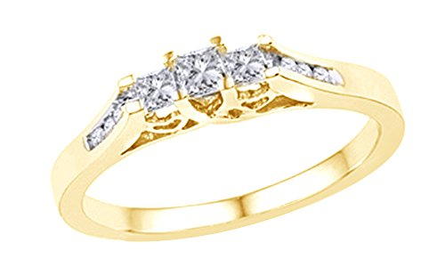 AFFY Princess & Round Cut White Natural Diamond Three Stone Ring in 10k Solid Gold (0.25 Cttw)