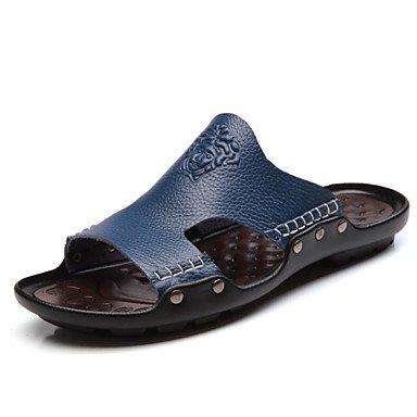Sandalias de verano zapatos de hombre casual Zapatillas de cuero negro / azul / amarillo Negro