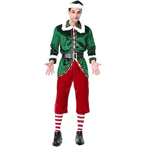 ROZKITCH Men's Elf Costume Christmas Adult Complete Costume Kit, Men's Santa's Elf Costume Cosplay -
