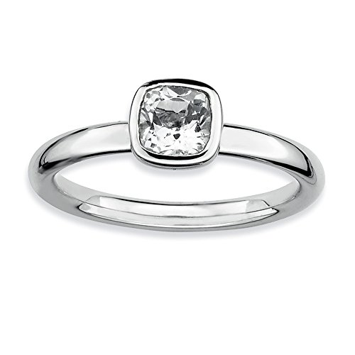 Silver Stackable Cushion Cut White Topaz Solitaire Ring, Size - Bow Topaz