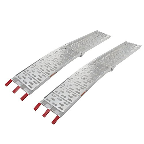 2 Pcs 7.5' Folding Loading Ramps Aluminum Top Lawnmower Ramp for ATV Pickup Truck Trailer Motorcycle Lawnmower 1500lbs Capacity