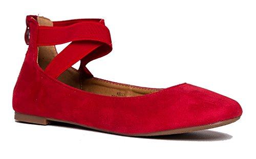 J. Adams Kelli Slip On - Comfortable Elastic Cross Strap Round Toe Ballet Flat