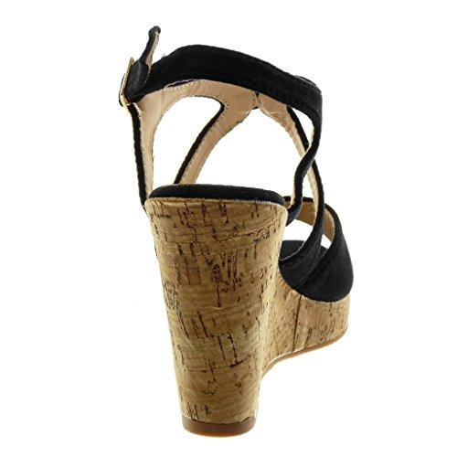 Liège Lanière Chaussure Peep Mule Lanière Toe cm Plateforme 10 Plateforme Femme Compensé Noir Angkorly Mode Talon Cheville Sandale BvdYYw
