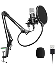 USB Microphone Kit,UHURU USB Podcast Condenser Microphone Kit 192kHZ/24bit Plug & Play PC Microphone Cardioid Microphone for Recording Gaming Broadcasting YouTube-UM900