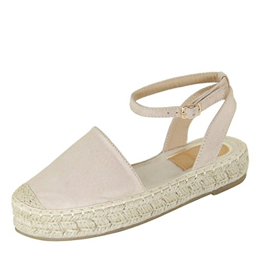 Bella Marie Womens Closed Toe Ankle Strap Espadrille Low Flat Platform Wedge Heel Sandal Slides Shoe Beige, 8