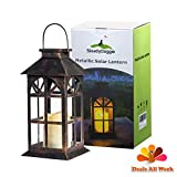 Cheap SteadyDoggie Solar Lantern Decor Antique Metal Glass Construction Estate Mission Indoor and Outdoor Lantern