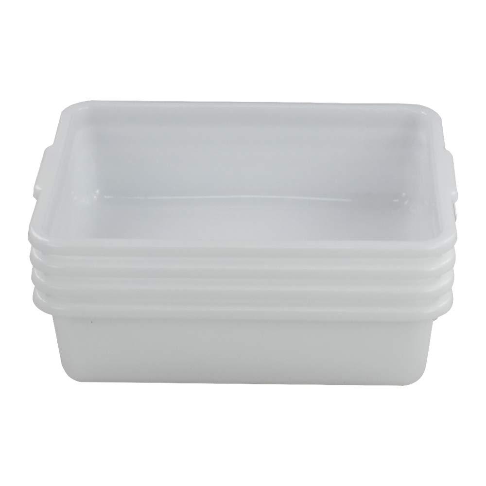Joyeen Wash Basin Tub, Plastic Dish Pan 8 Liter, White Bus Tubs, Set of 4