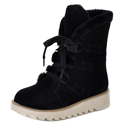 Black Warm Women Boots Short Winter KemeKiss Up Comfort Inner Lace IqWwZWzg