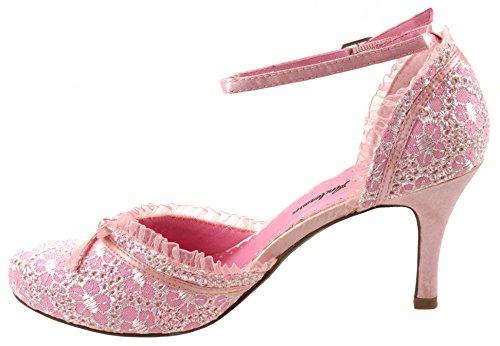 Brian Anderson Shoes Womens Abia-3 Mid Heels Pumps In Tessuto Con Cinturino Alla Caviglia E Topknot Rosa