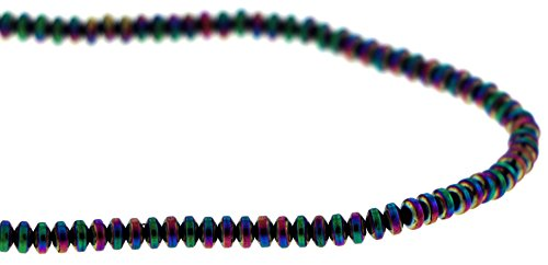 4mm Magnetic Hematite Rondelle Rainbow MH41