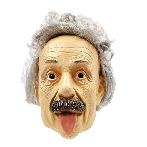 PartyCostume - Albert Einstein Mask - Halloween Realistic Famous People Celebrity Human Mask -