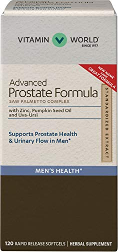 Vitamin World Advanced Prostate Formula Saw Palmetto Complex 120 Softgels, Supports Prostate Health, Urinary Health, Rapid-release, Gluten Free