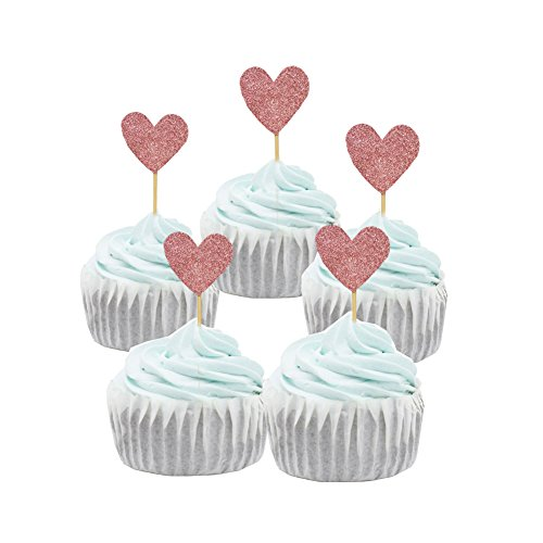PARTYMASTER Bridal Shower Party Decorations Pink Loving Heart Design Lot of 48PCS Food Toothpicks Cupcake Muffin Toppers