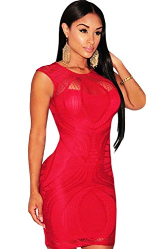 Neue Damen Rot Lace Mini Dress Club Sommer Kleid Casual Party Kleid ...