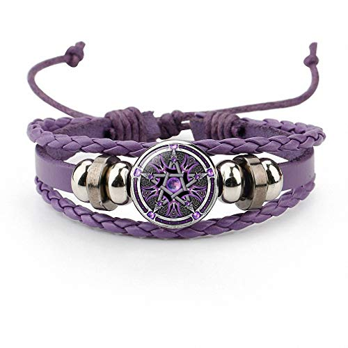 (Giwotu Womens Bracelet Colorful Occult The Inverted Star Sign Pentagram Satanic Pentagram Star Symbols Glass Leather Bracelets Men Women Jewelry Purple)
