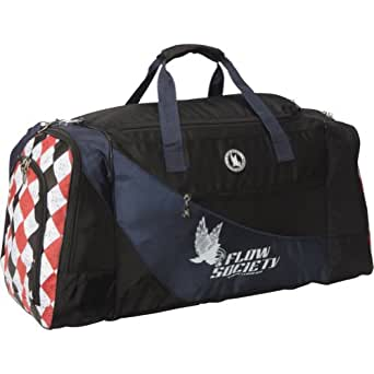 Flow Society Authentic Lacrosse Gear Bag Navy Black with White, Red and Black Argyle on ends
