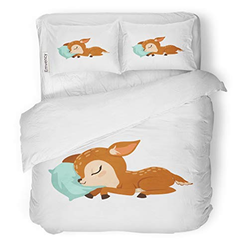 Semtomn Decor Duvet Cover Set King Size Brown Reindeer Cute Little Fawn Character Slaaping on Bambi Sleeping 3 Piece Brushed Microfiber Fabric Print Bedding Set Cover ()