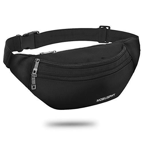 Bauchtasche für Damen und Herren Gürteltasche Schwarz Hüfttasche Outdoor Groß Handytasche Sport Wasserdicht Laufgürtel…