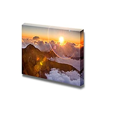 Magnificent Expertise, Beautiful Landscape Sunset Scenery with Famous Yushan West Peak Under Sunlight and Lens Flare in Taiwan Asia Wall Decor, Premium Creation