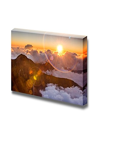 Beautiful Landscape Sunset Scenery with Famous Yushan West Peak under Sunlight and Lens Flare in Taiwan Asia Wall Decor ation