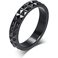 Mrsrui New 4mm Men Women Titanium Black Wedding Band Ring
