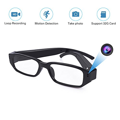FHD Hidden Camera Eyeglasses - Super Small Surveillance Spy Camera - Video Loop Recording , Photo Taking - Mini Digital Camera-USB Charger