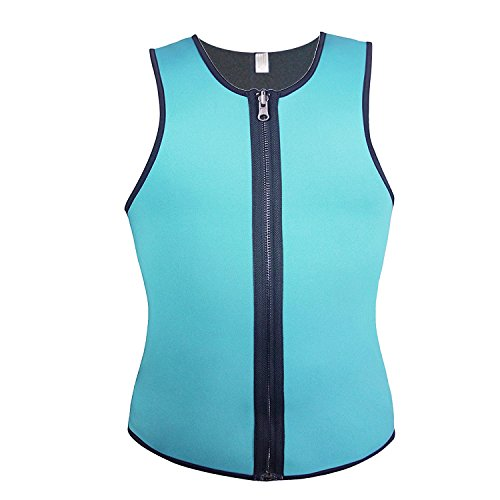 Men's Neoprene Sweat Shirt Slimming Vest with Zip for Burn More Fat / Weight Loss / Workout / Sport / Training / Body Fitness (XL, Green) (Thermogenic Creme)