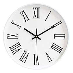 Fasmov 12-inch Silent Non-Ticking Roman Numeral Wall Clock, White