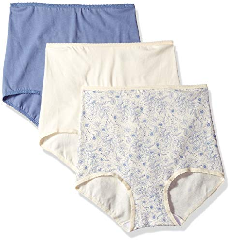 Bali Women's Cool Cotton Skamp Brief 3-Pack, Moonlight/Chateau Blue Assortment, 9 (Bali Cotton Panties)
