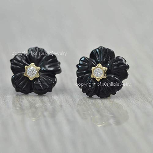 Solid 14k Yellow Gold Black Onyx Diamond Floral Studs Earrings Anniversary April Birthday Gifts Jewelry ()