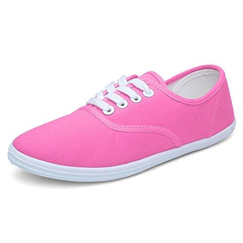 Cior Femmes Lacets Chaussures De Toile Casual Fourre-tout Classique Sneakers Original Léger Doux F.pink