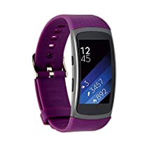SAMSUNG Gear Fit2 Band,Wishta Soft Silicone Replacement Elastomer Band Plastic Wristband for Samsung Galaxy Gear Fit 2 SM-R360 Smart Watch (Purple)