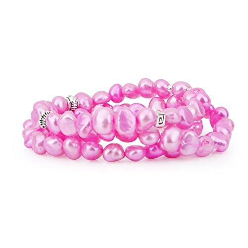 7mm Genuine Pink Pearl Bracelet - Genuine Freshwater Cultured Pearl 7-8mm Stretch Bracelets with base-metal-beads (Set of 3) 7.5