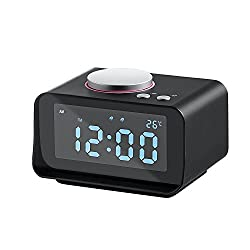 50% OFF! AK1980 Dual Alarm Clock Radio, Multifunction Digital Alarm Clock with Dual USB Charing Station Indoor Thermometer AUX-IN 3.2'' Large Display for Bedrooms Hotel Office (Black)