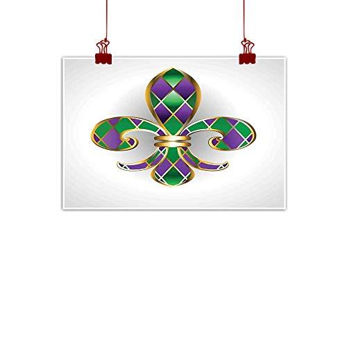 Wall Art Print Home Decor Fleur De Lis,Gold Colored Lily Symbol With Diamond Shapes Royalty Theme Ancient Art,Gold Purple Green 48