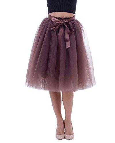 Vintage Jupe Tulle 65cm Tutu sous Femme Marron 7 Rtro Jupon Comall Robe Petticoat Couches en ZwIq4n7IFx