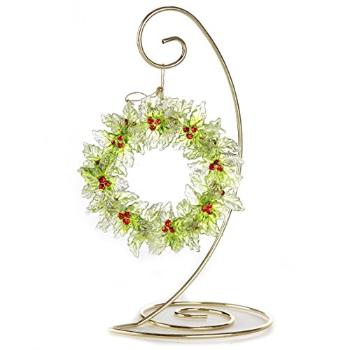 Home-X Spiral Ornament Stand. 13 inch. Gold. Single - Spiral Christmas Ornament