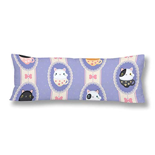 Side Frame Cover Body (InterestPrint Cute Tea Mug Neko Cats in Laced Frames Pillow Covers Pillowcase with Zipper 21x60 Twin Sides, Rectangle Body Pillow Case Protector for Home Couch Sofa Bedding Decorative)