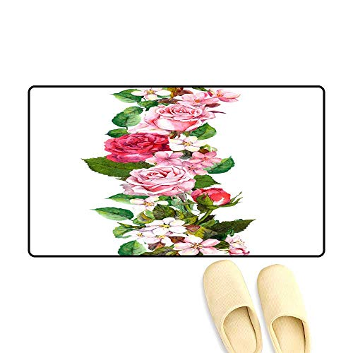 Customize Door mats for Home Mat Floral Border wi Apple Sakura Cherry Flowers Blossom Roses Flowers Watercolor Seamless Frame