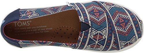 TOMS Youth Alpargata Canvas Printed Espadrille, Size: 4.5 M US Big Kid, Color Navy Forest Tribal - Image 1