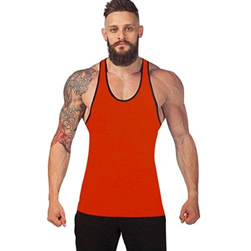 Challyhope Hot Sale! Men Muscle Tank Tops Vest Racerback Solid Singlet Sport Bodybuilding Shirt (M, Orange)