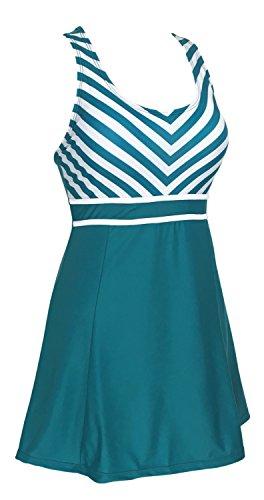 DANIFY women 's One Piece Vintage Sailor Swim Dress Cover up Bathing Suits L(US10) 2-Green