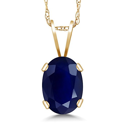 Gem Stone King 14K Yellow Gold Blue Sapphire Pendant Necklace 1.02 Ct Gemstone Birthstone Oval 7X5MM with 18 Inch Chain