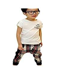 Lymnshi Summer Boys Short Sleeve T-shirt + Plaid Harem Pants Casual Outfit Set