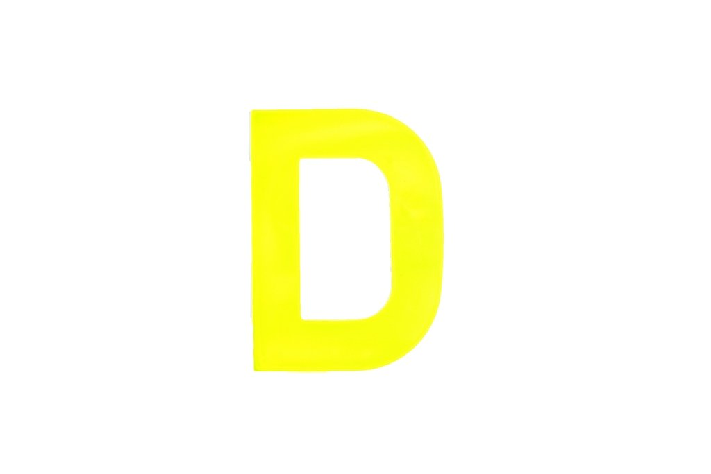 Bulk Hardware BH04960 High Visibility Plastic Reflective Mailbox, House Self Adhesive Letter D, 75mm (3 inch) - Yellow