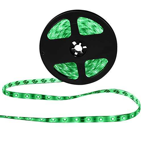 XKTTSUEERCRR Waterproof Green LED 3528 SMD 300LED 5M Light Flexible Strip 12V 2A 24W 60LED/M ()
